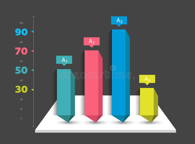 Infographic 3D diagram chart, graph. Graphic element can be used for brochure layout, workflow, diagram, number options, web desig. Infographic 3D diagram chart stock illustration