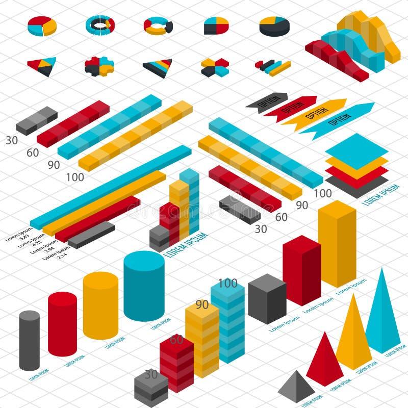 Infographic 3d isométrico liso para suas apresentações do negócio ilustração stock