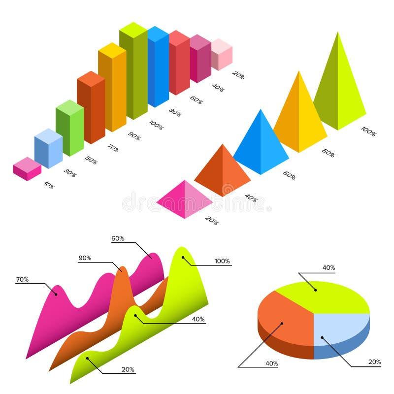 Infographic 3d isométrico liso para suas apresentações do negócio Grupo grande de infographics com ícones dos dados, cartas e ilustração do vetor