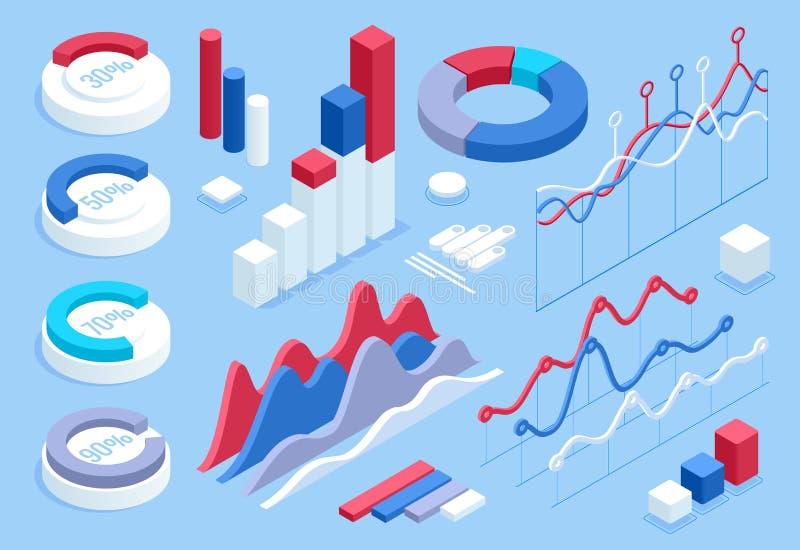 Infographic 3d isométrique plat pour vos présentations d'affaires Grand ensemble d'infographics avec des icônes de données, diagr illustration stock