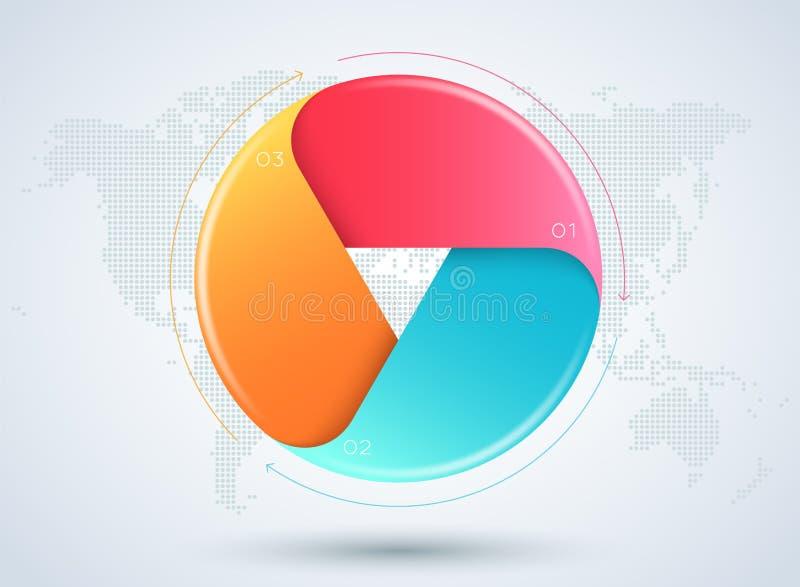 Infographic 3d 3 sceny biznesu obieg diagram ilustracja wektor