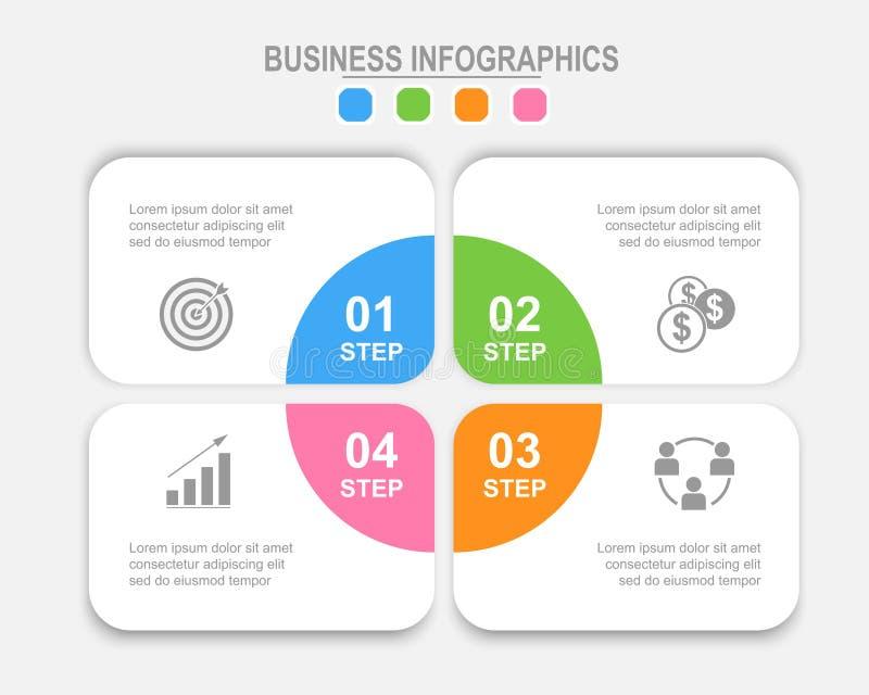Infographic da etapa, projeto liso do vetor do ícone do negócio fotografia de stock royalty free