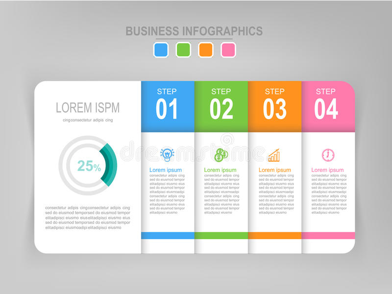 Infographic da etapa, projeto liso do vetor do ícone do negócio fotos de stock royalty free