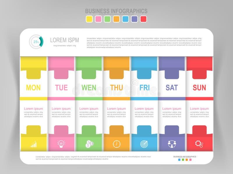 Infographic da etapa semanal, vetor liso do ícone do negócio do projeto ilustração stock