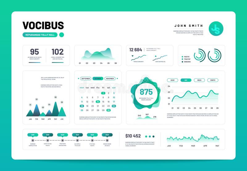 Infographic dashboard. Admin panel interface with green charts, graphs and diagrams. Website design vector template vector illustration