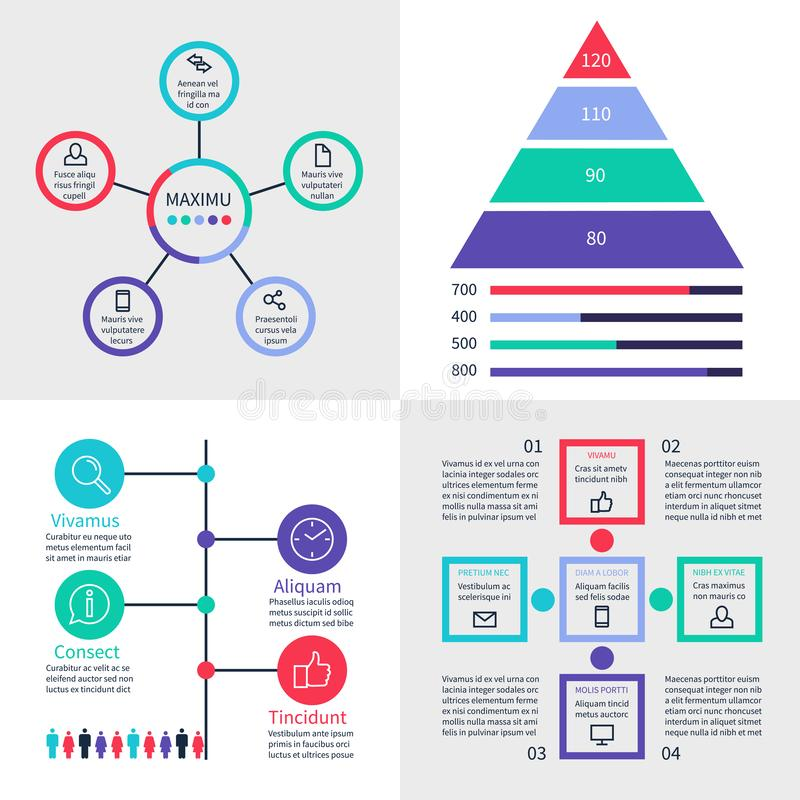 Infographic dashboard. Information banners with finance graphs, pyramid and comparison diagrams vector set royalty free illustration