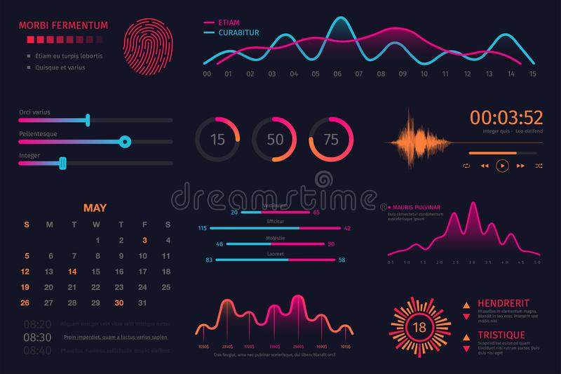 Infographic dashboard template. Data screen with colorful graphs, charts and HUD elements, statistics and analytics stock illustration