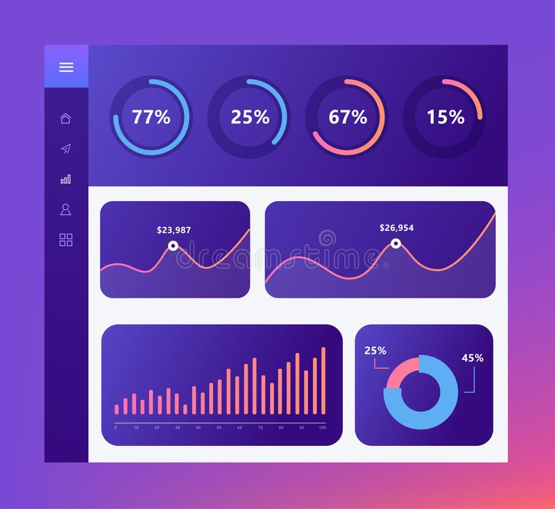 Infographic dashboard template with flat design graphs and charts, loading objects, chart pie. Information Graphics vector illustration