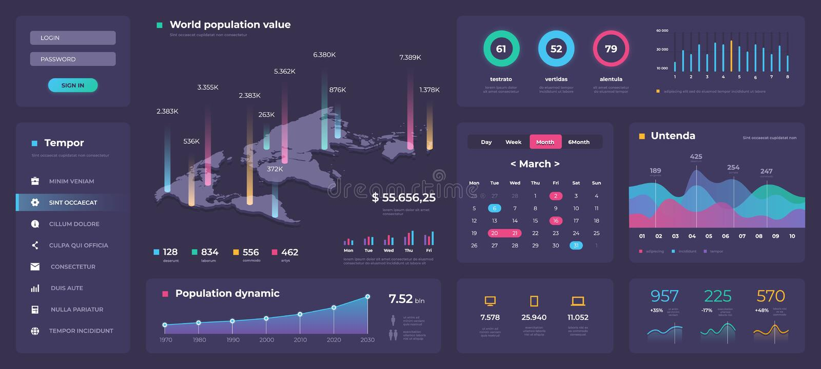 Infographic dashboard template. White modern web app UI with graphs round bars and charts. Vector admin panel design stock illustration