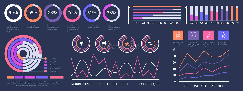 Infographic dashboard. Vector interface presentation elements set royalty free illustration