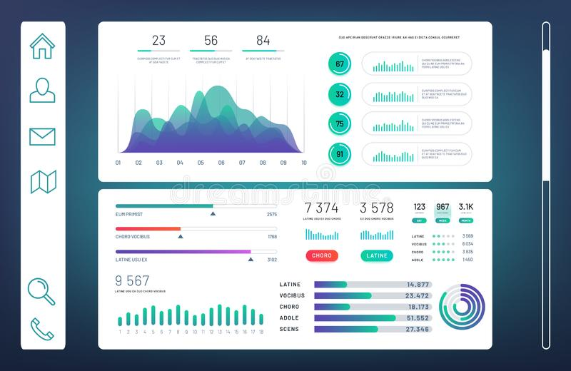 Infographic dashboard, web admin panel with info charts, diagrams vector template vector illustration