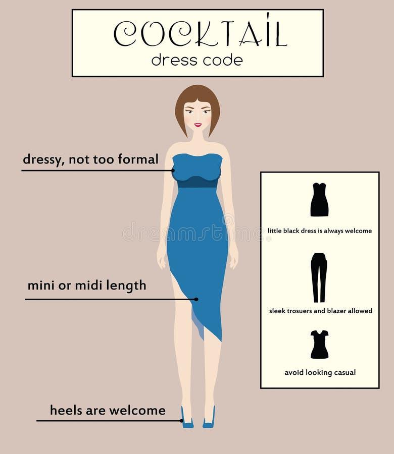 Infographic de code van de vrouwenkleding cocktail Wijfje in de opgedirkte blauwe kleding van Midi vector illustratie