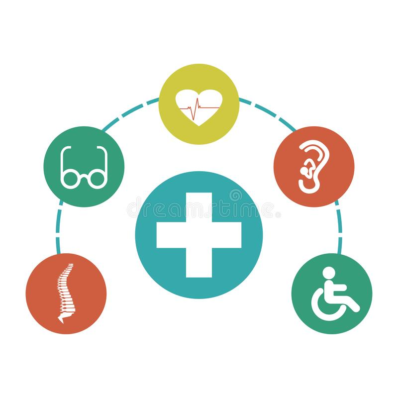 Infographic de símbolos médicos Sinais da inabilidade Ilustra??o do vetor ilustração do vetor