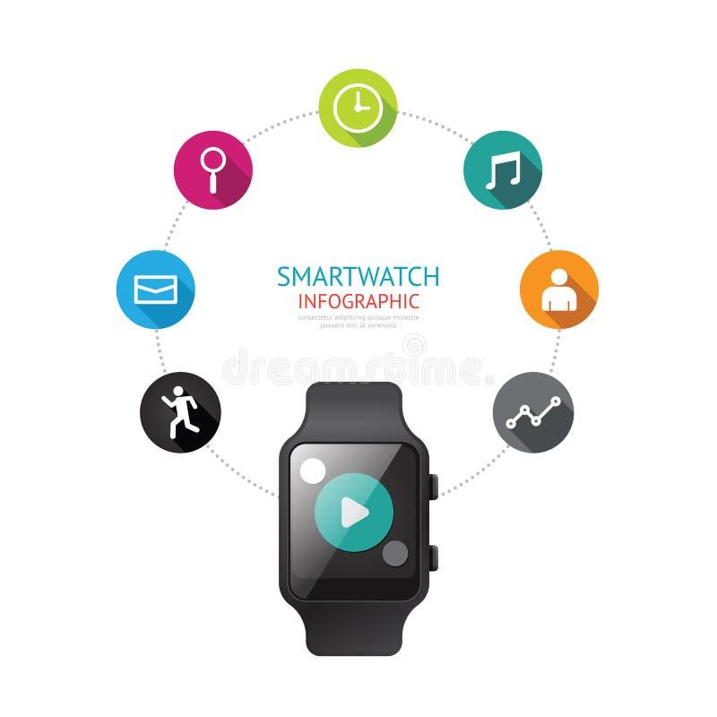 Infographic de Smartwatch d'isolement avec la ligne de temps d'icônes concept V illustration libre de droits