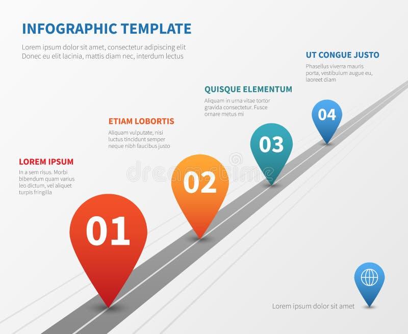 Infographic de vector van de bedrijfchronologie Mijlpaalweg met wijzers vector illustratie