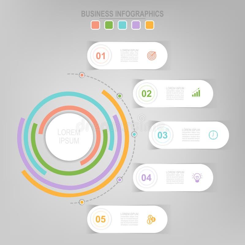 Infographic del elemento del círculo, diseño plano de vector del icono del negocio ilustración del vector