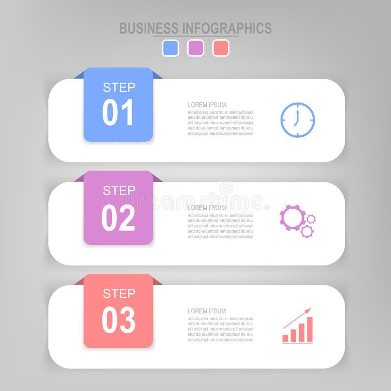 Infographic del paso, diseño plano de vector del icono del negocio libre illustration