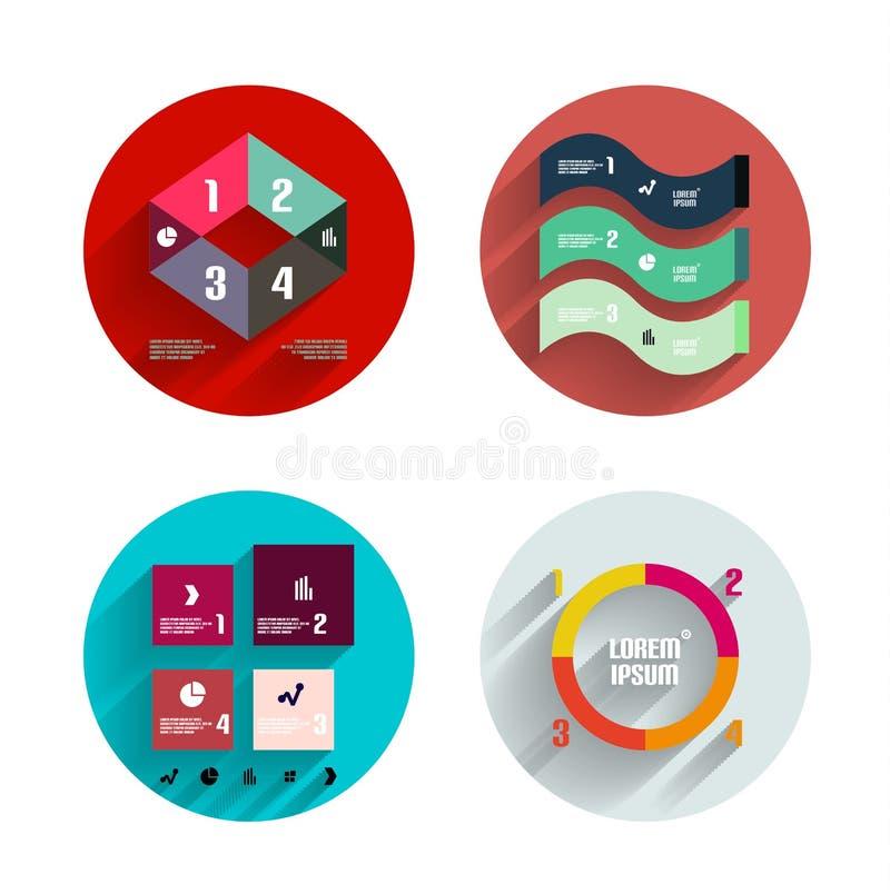 Infographic dentro de círculos coloridos. Sistema plano del icono libre illustration