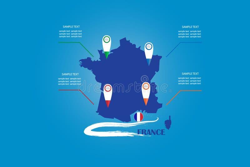 Infographic der blinden Karten- und Kreisflagge von Frankreich stock abbildung