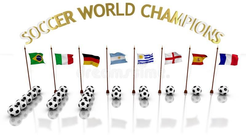 Infographic der Fußballweltmeister mit den Flaggen, welche die Länder und die Bälle die Anzahl von Titeln darstellen lizenzfreie abbildung