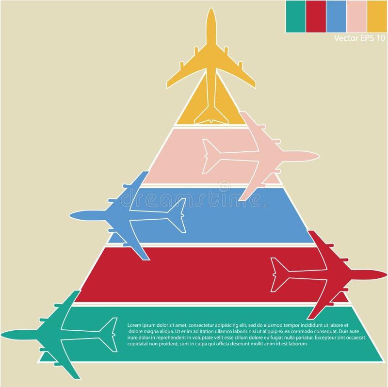 Infographic des avions colorés avec le fond coloré, vecteur Illustraton illustration libre de droits