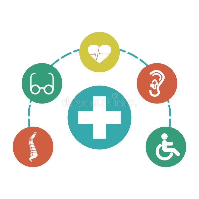 Infographic des symboles médicaux Signes d'incapacité Illustration de vecteur illustration de vecteur
