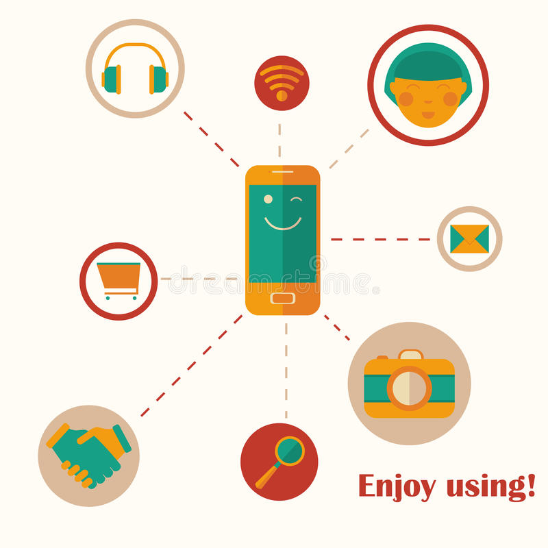 Infographic design on the bright, stylish backgrou. Nd. Enjoy using your mobile phone. Vector eps 10 stock illustration