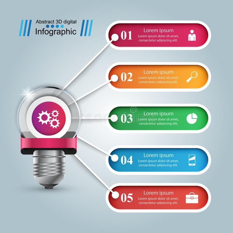 Infographic design. Bulb, Light icon. Infographic design template and marketing icons. Bulb icon. Light icon stock illustration