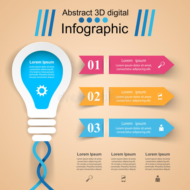 Infographic design. Bulb, Light icon. Infographic design template and marketing icons. Bulb icon. Light icon vector illustration