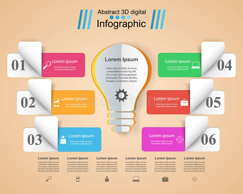 Infographic design. Bulb, Light icon. Infographic design template and marketing icons. Bulb icon. Light icon royalty free illustration