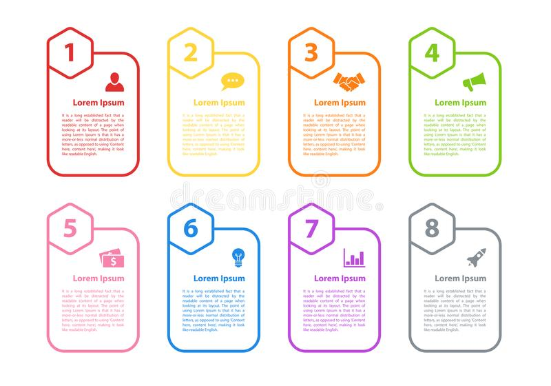 Infographic design business concept. Vector illustration with 8 steps or options or processes represent work flow or diagram for annual report or presentation vector illustration