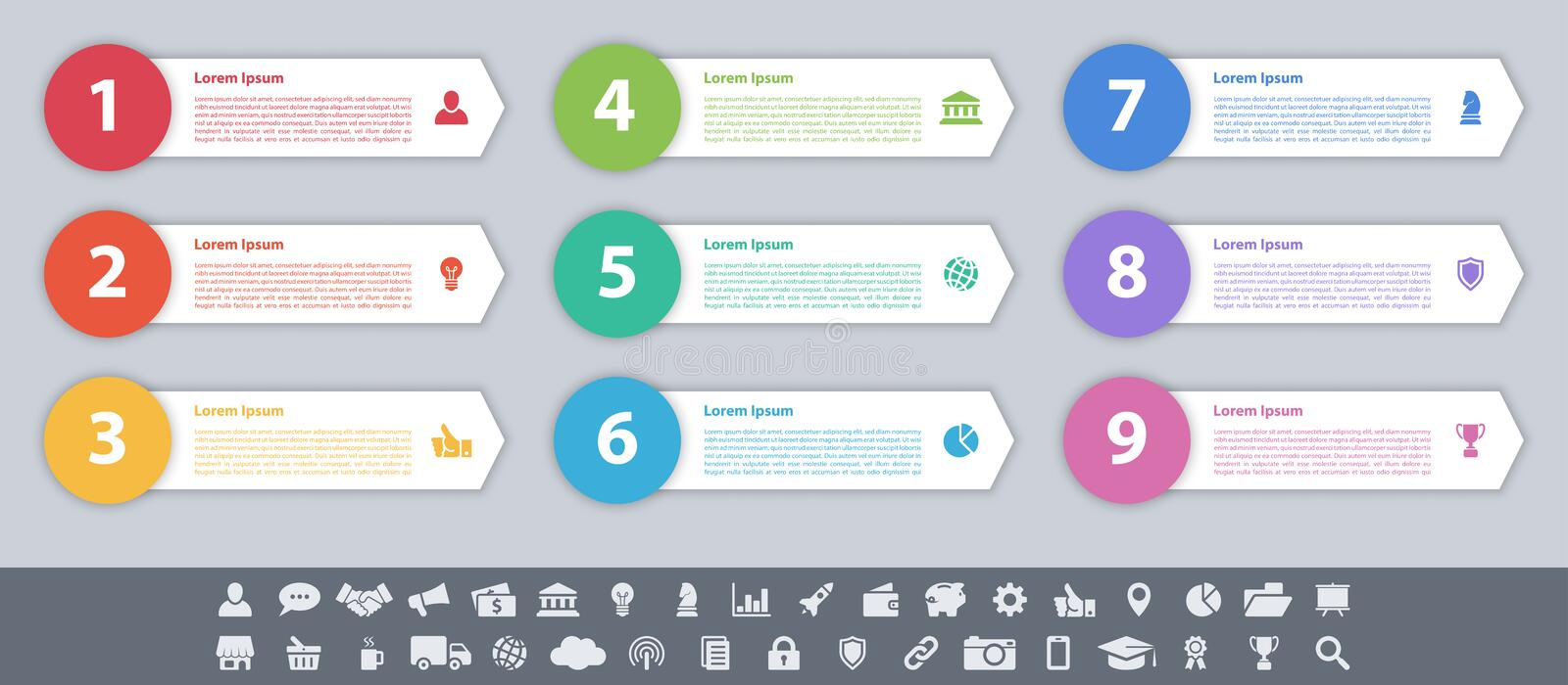 Infographic design business concept with 9 steps. Infographic design business concept vector illustration with 9 steps or options or processes represent work vector illustration