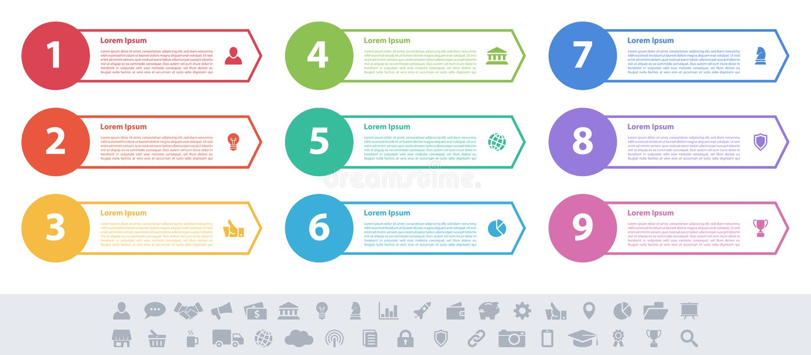 Infographic design business concept with 9 steps vector illustration