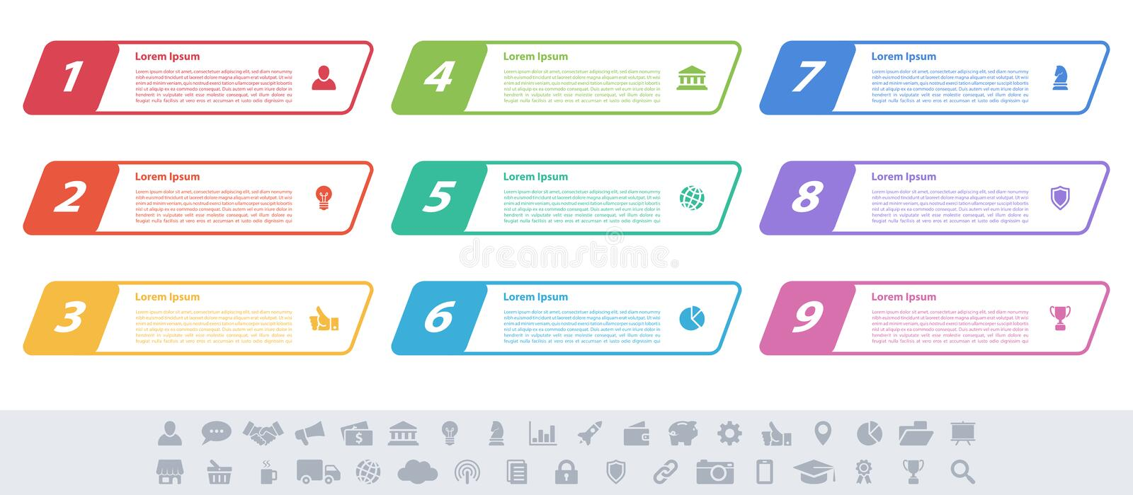 Infographic design business concept with 9 steps stock illustration
