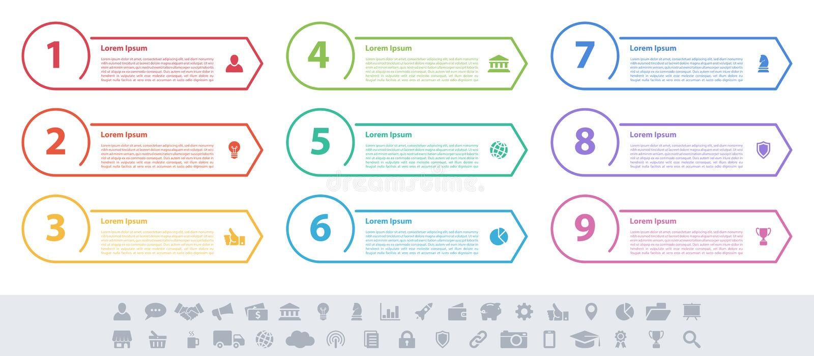 Infographic design business concept with 9 steps royalty free illustration