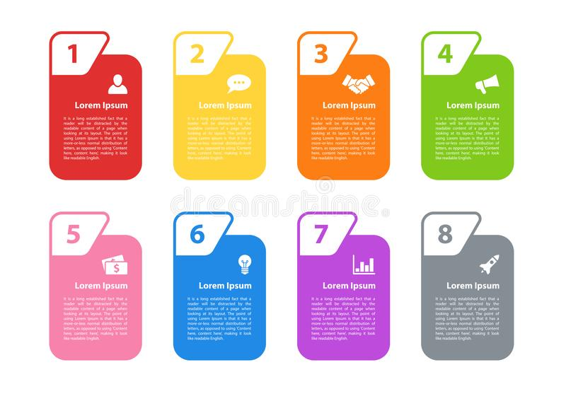 Infographic design business concept vector illustration with 8 steps. Or options or processes represent work flow or diagram for annual report or presentation royalty free illustration