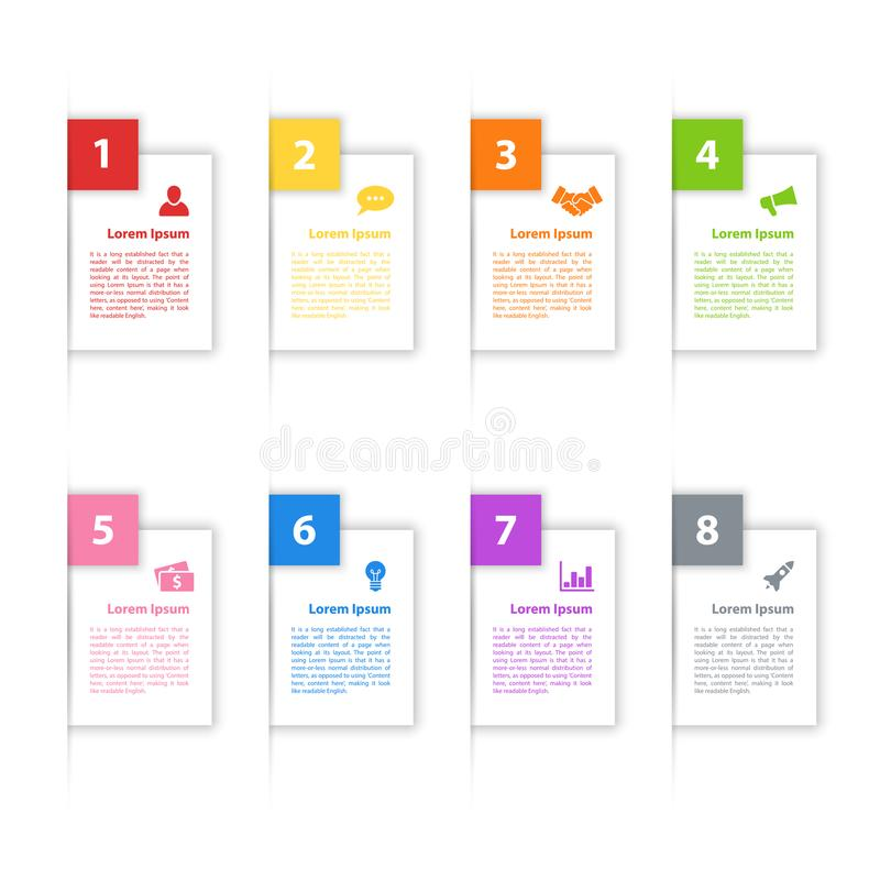Infographic design business concept. Vector illustration with 8 steps or options or processes represent work flow or diagram for annual report or presentation stock illustration