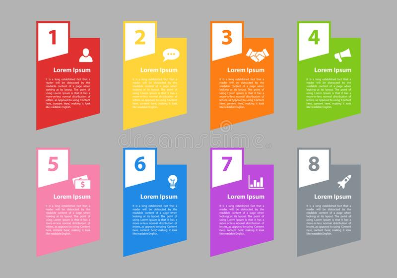 Infographic design business concept with 8 steps. Infographic design business concept vector illustration with 8 steps or options or processes represent work stock illustration