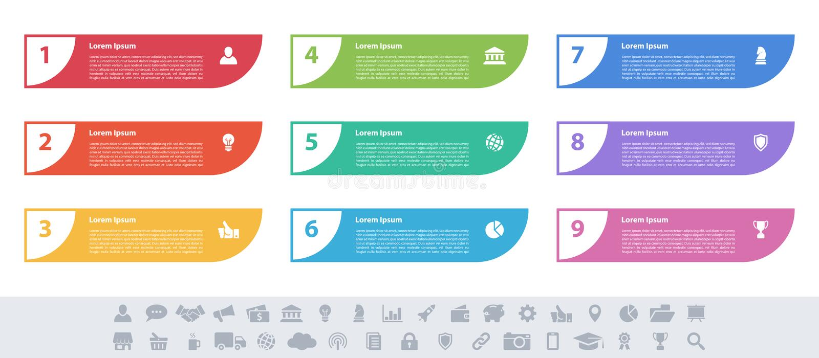 Infographic design business concept with 9 steps. Infographic design business concept vector illustration with 9 steps or options or processes represent work stock illustration