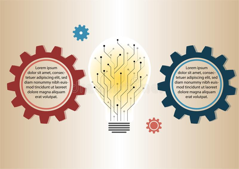 Infographic design, Circuit light Bulb silhouette with explain 2 gears on the gradient tone background vector illustration