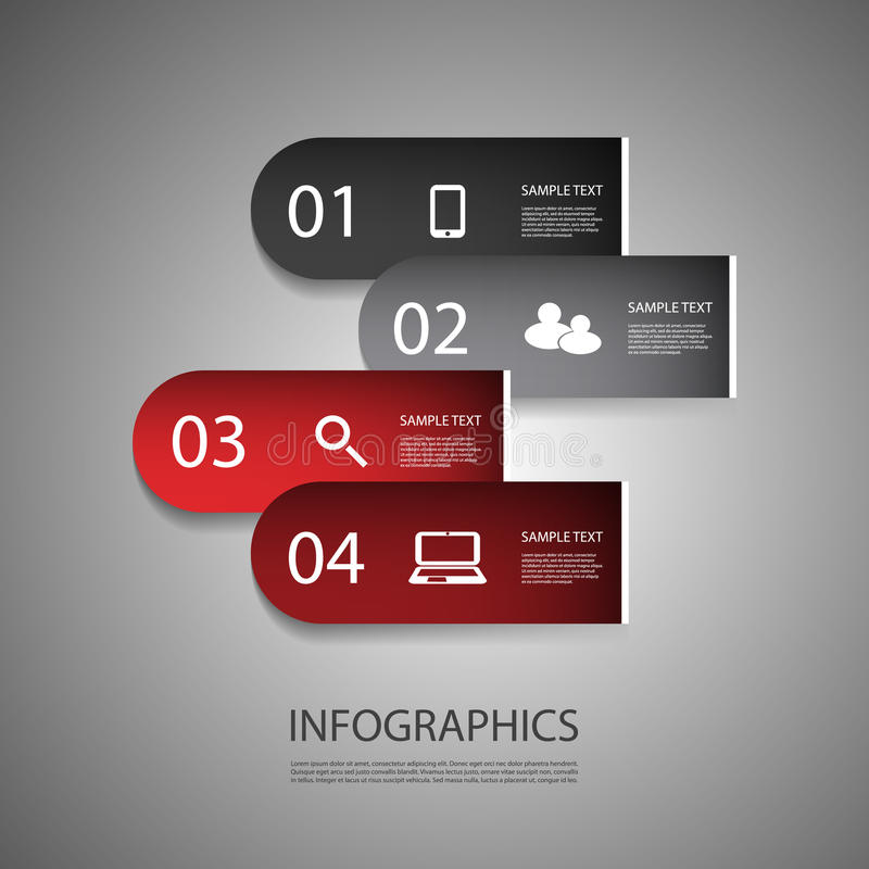 Infographic Design. Colorful Numbered Banners - Infographics Design Template with Icons - Illustration in Freely Editable Vector Format royalty free illustration