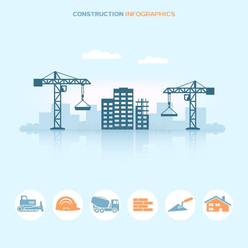 Infographic Design der Netzfahne mit Baustelleikonen lizenzfreie abbildung