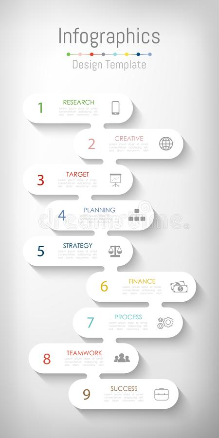 Free Infographic Design Elements For Your Business Data With 9 Options, Parts, Steps, Timelines Or Processes. Vector Royalty Free Stock Image - 148592936