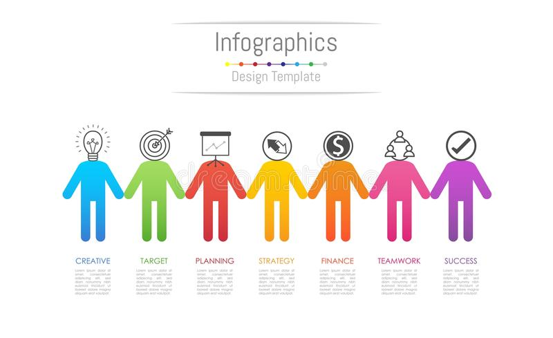 Infographic design elements for your business data with 7 options royalty free illustration