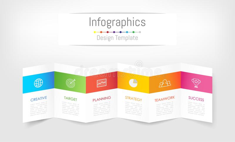 Infographic design elements for your business data with 6 options. vector illustration