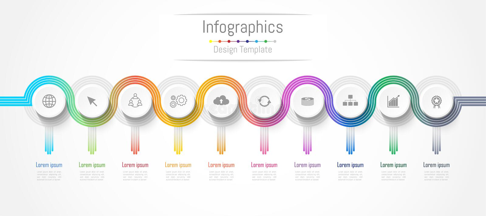 Infographic design elements for your business data with 10 options, parts, steps, timelines or processes. connection lines concept. Vector Illustration royalty free illustration