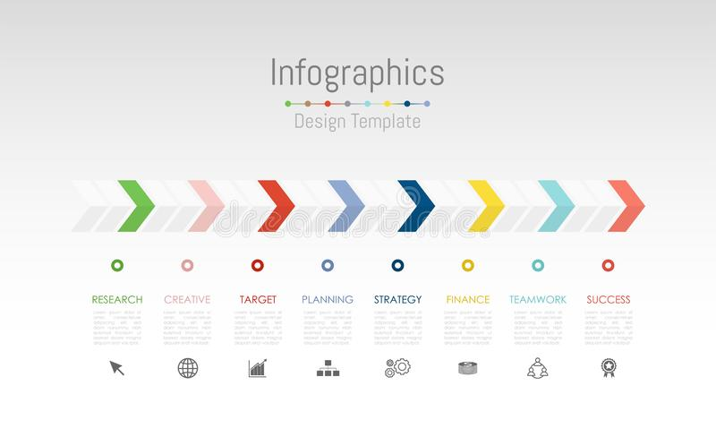 Infographic design elements for your business data with 8 options, parts, steps, timelines or processes. Vector stock illustration