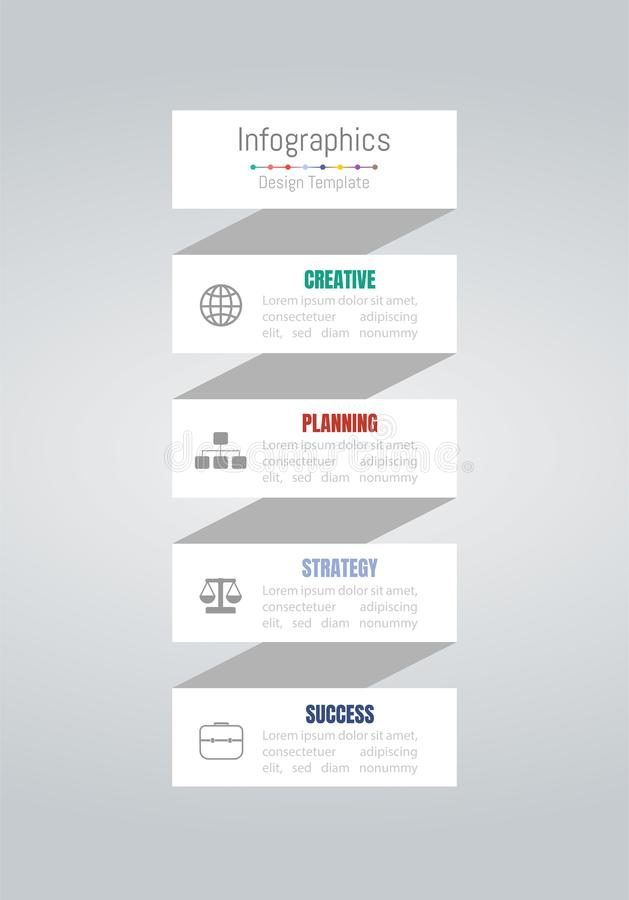 Infographic design elements for your business data with 4 options, parts, steps, timelines or processes. Vector royalty free illustration
