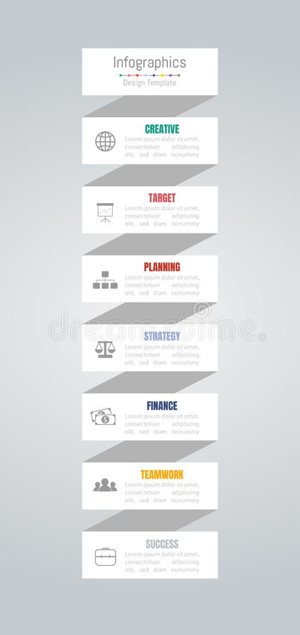 Infographic design elements for your business data with 7 options, parts, steps, timelines or processes. Vector vector illustration