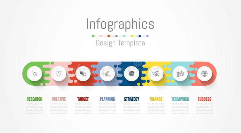 Infographic design elements for your business data with 8 options, parts, steps, timelines or processes. Vector royalty free illustration
